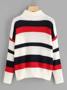 Contrast Striped Drop Shoulder Sweater