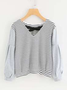 Contrast Striped Criss Cross Front Tee