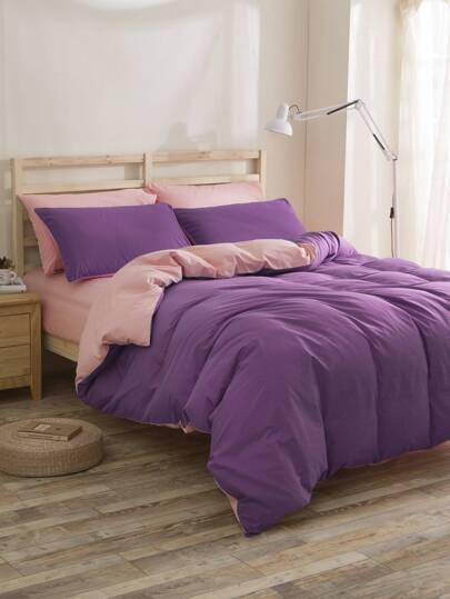 2.2m 4Pcs Two Tone Bedding Set