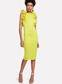 Flounce Embellished Form Fitting Dress
