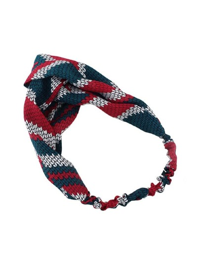 Red-Green Elastic Colorful Polyester Geometric Print Headbands