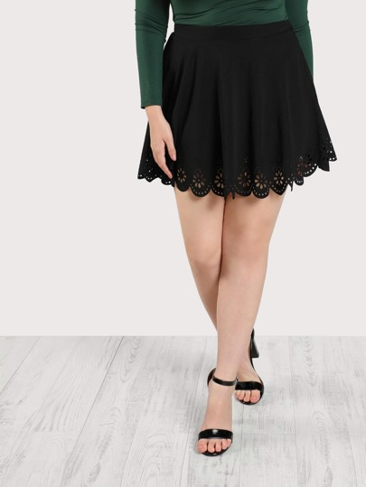 Scallop Laser Cut Flared Skirt