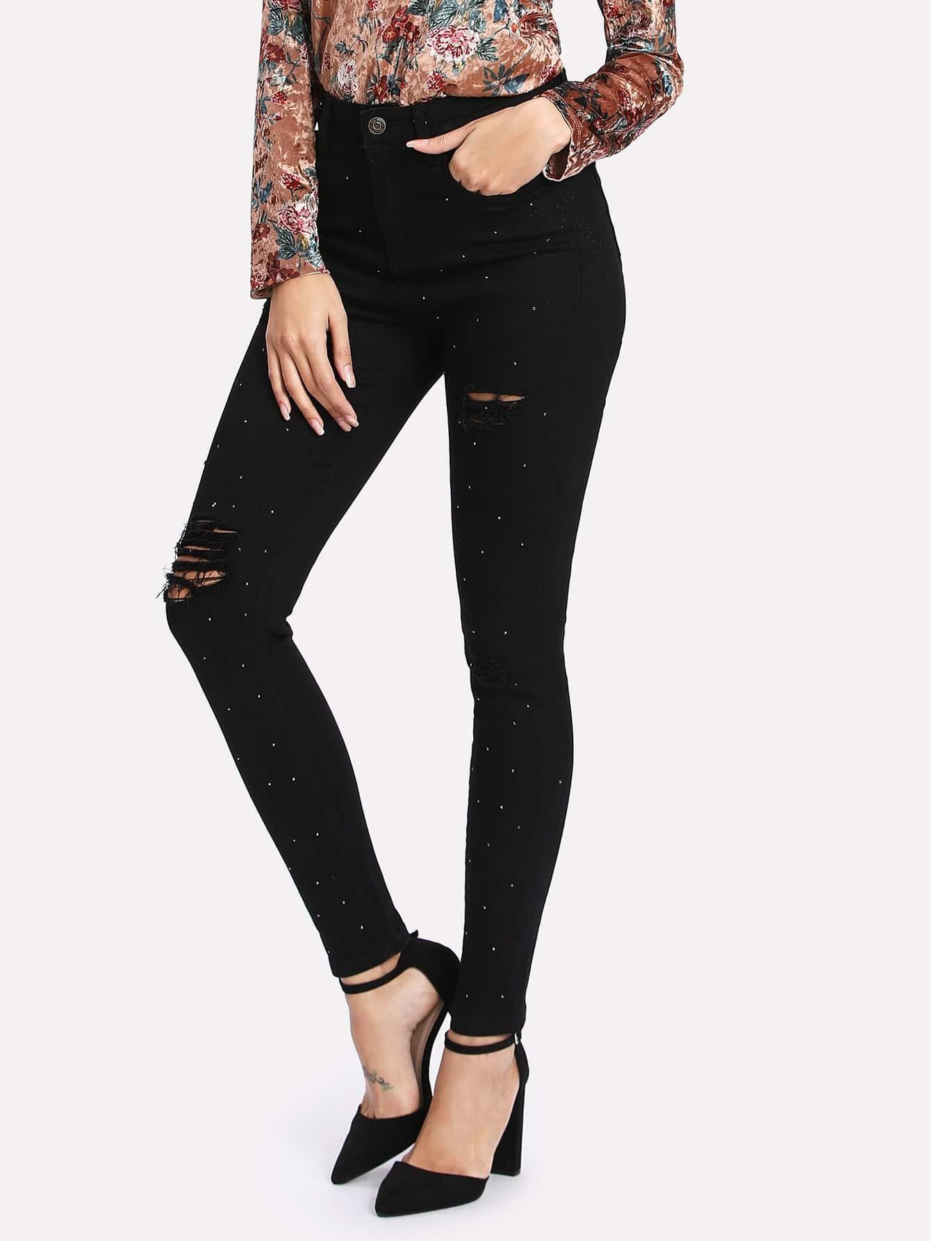 Rhinestone Ripped Skinny Jeans