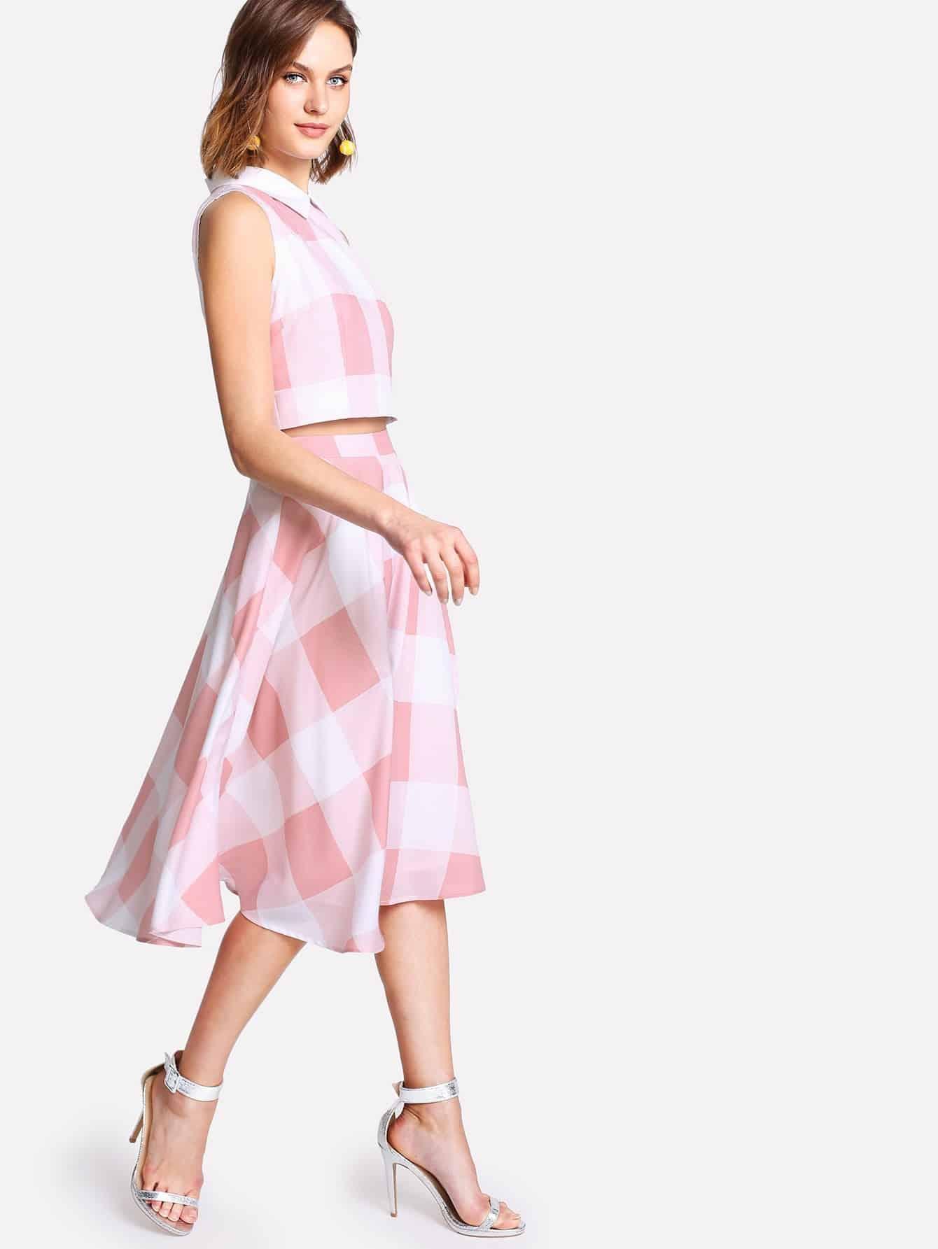 Zip Back Plaid Crop Top And Skirt Set джеймс эшер bhakta ranga rasa india новый взгляд mp3