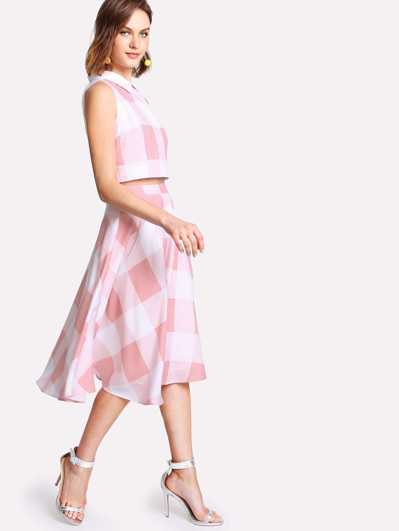Zip Back Plaid Crop Top And Skirt Set