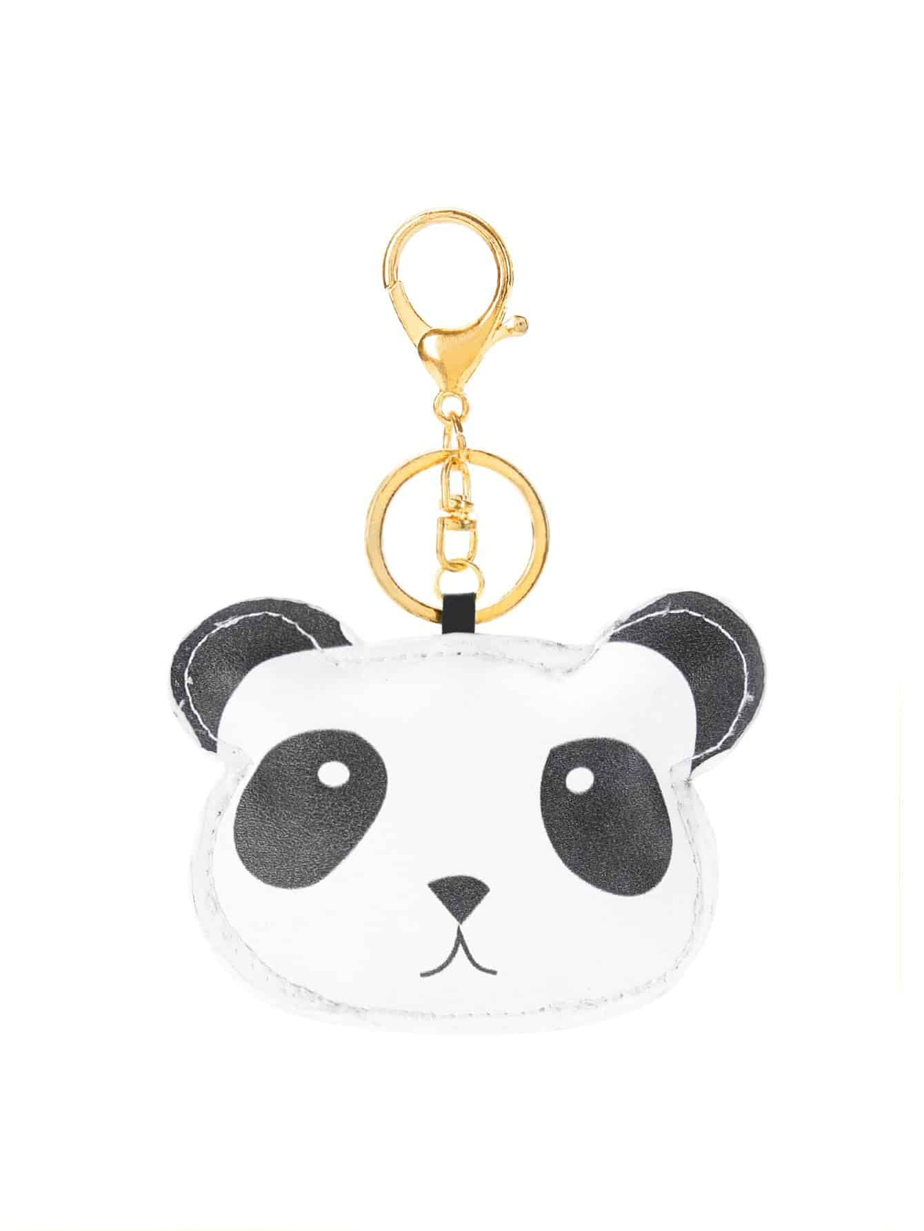 Two Tone Panda Design Keychain two tone drop shoulder sweatshirt