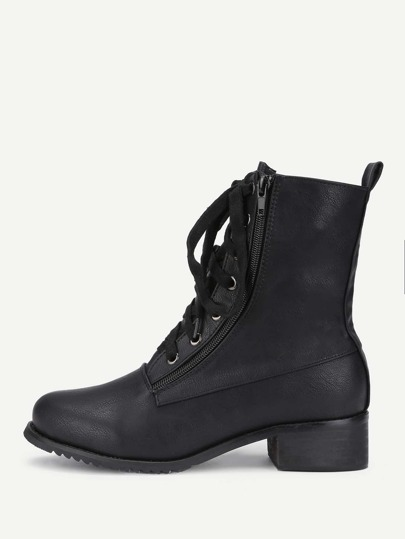 Double Zipper Front Lace Up PU Boots