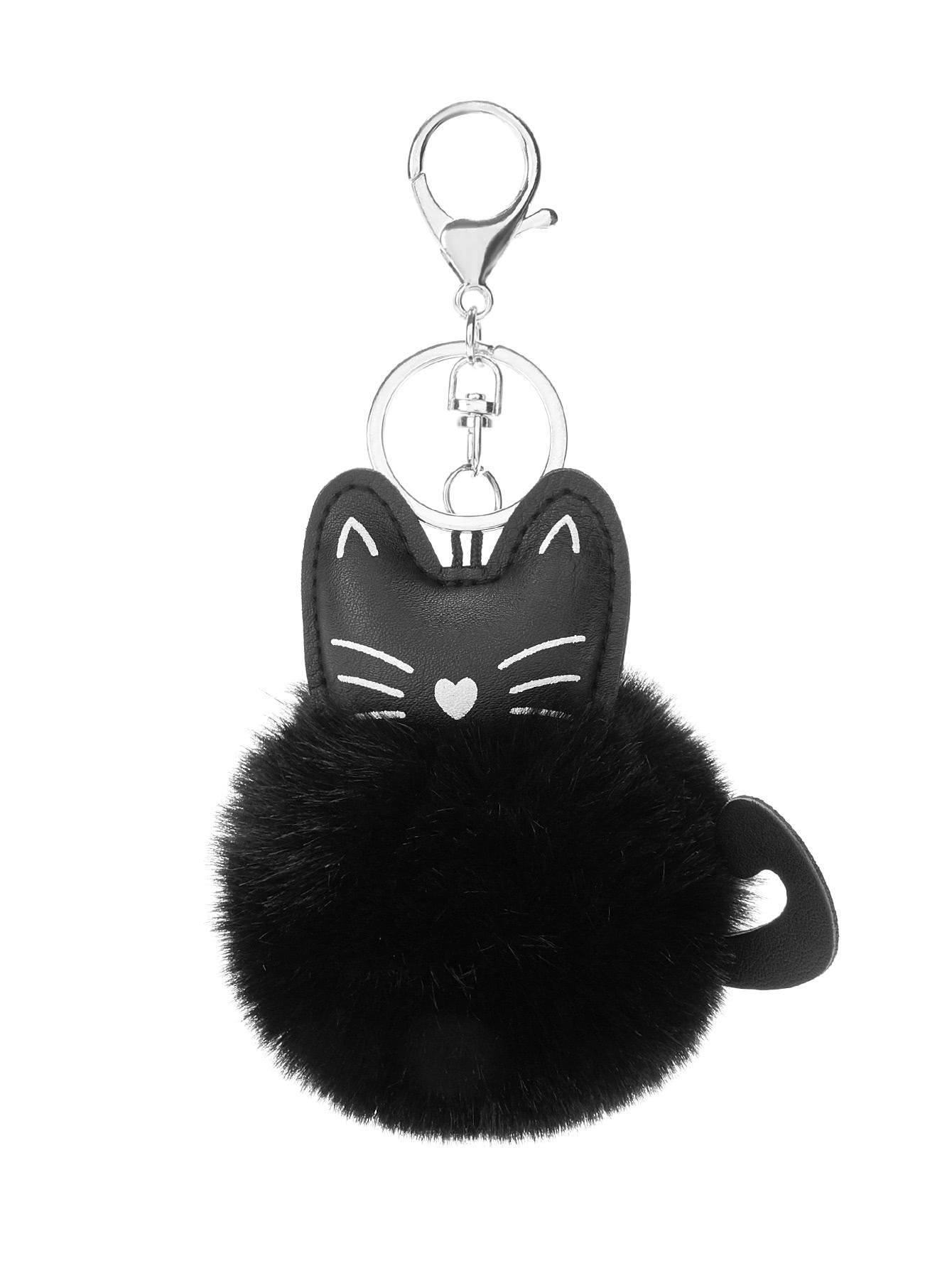 Cat Detail Pom Keychain