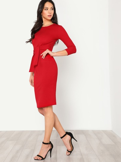 Self Tie Pencil Dress
