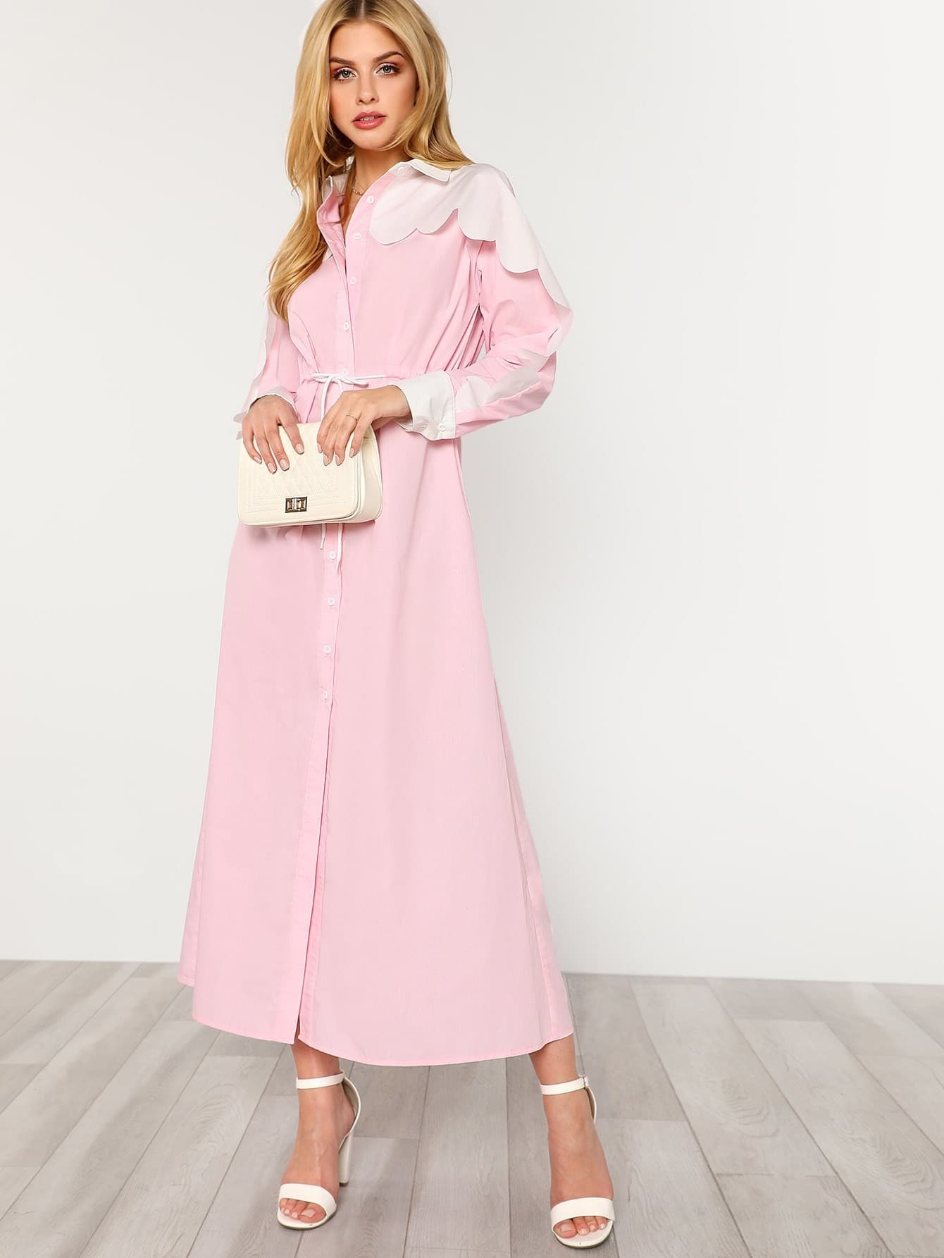 Купить Контрастное модное платье-рубашка, Marina Laswick, SheIn