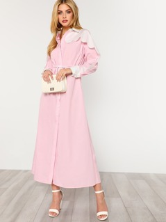 Scalloped Contrast Panel Drawstring Waist Shirt Dress