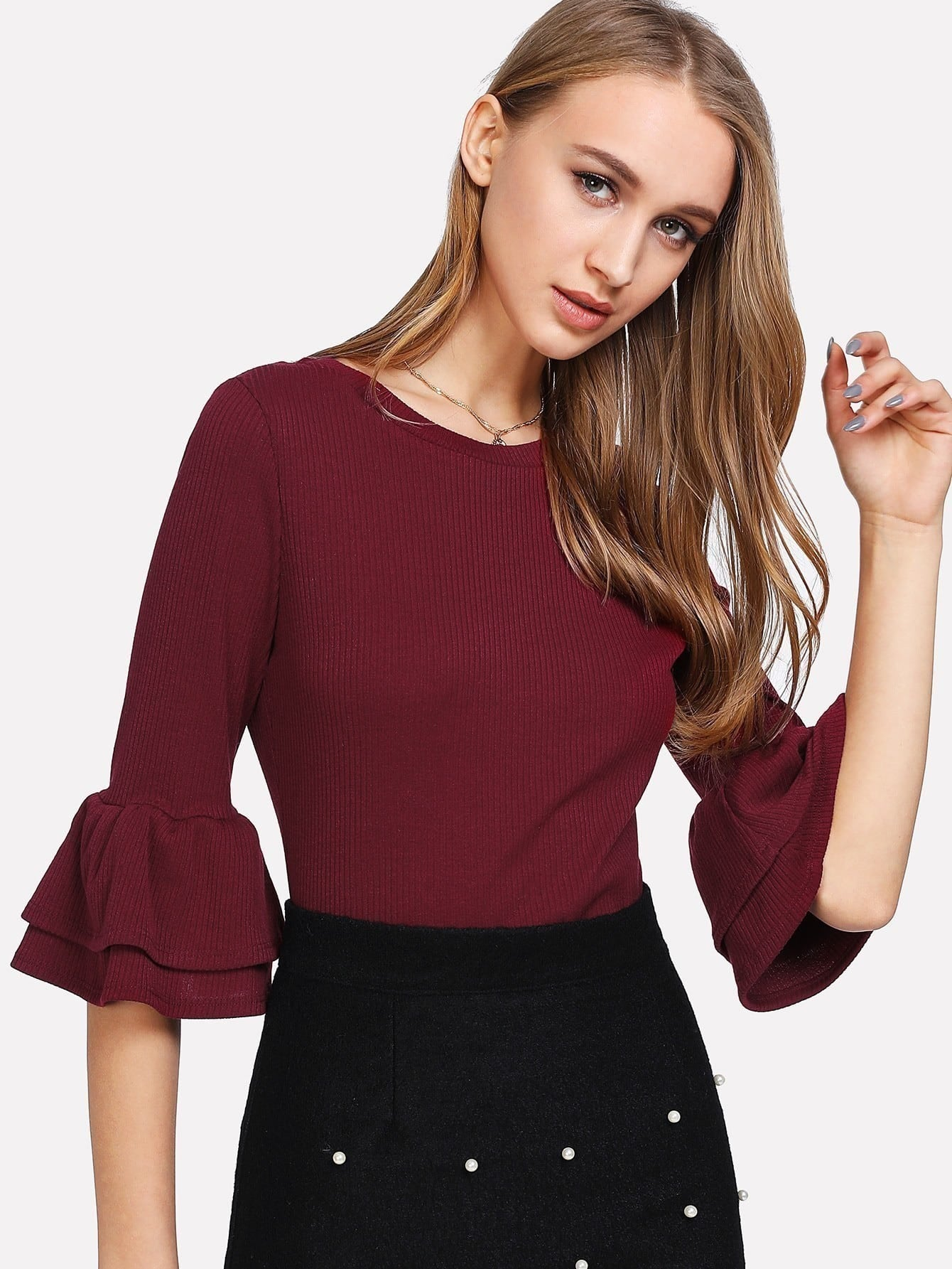 Flounce Sleeve Rib Knit Solid Top blouse171201705
