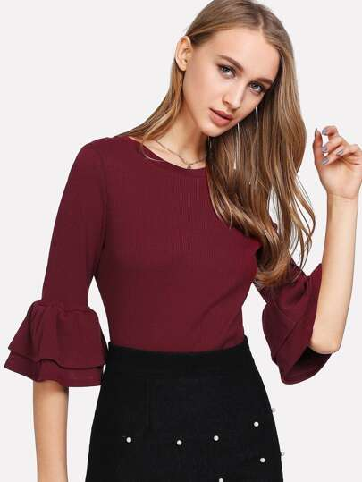 Flounce Sleeve Rib Knit Solid Top
