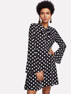 Trumpet Sleeve Tied Neck Polka Dot Dress