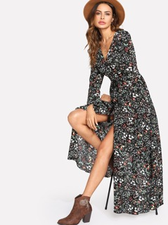 Tassel Tied Shirred Waist Daisy Print Dress