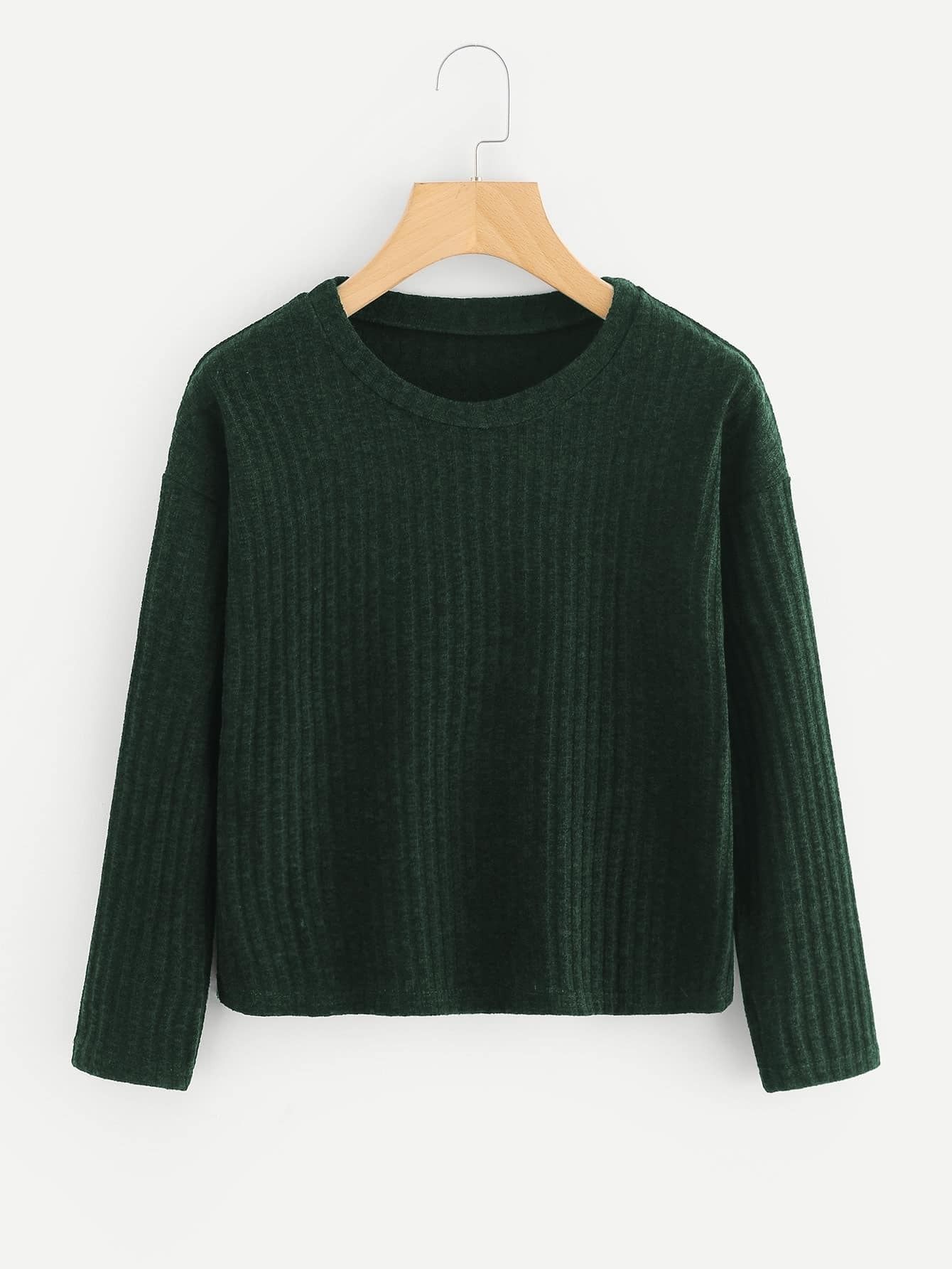 Drop Shoulder Ribbed Knit Sweater