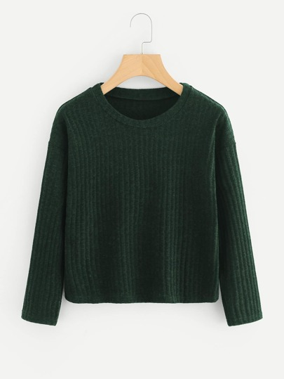 Buy Drop Shoulder Ribbed Knit Sweater