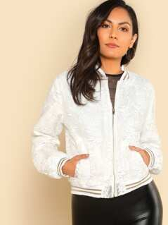 Striped Trim Embroidered Organza Overlay Jacket