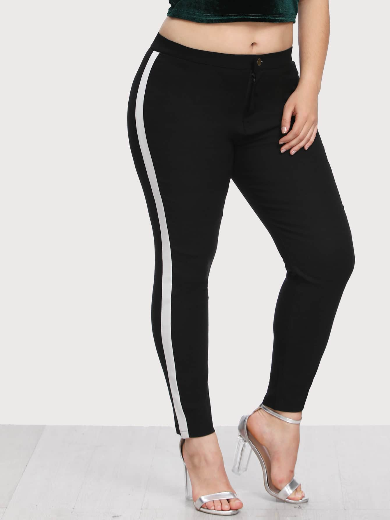 Image of Contrast Stripe Side Leggings