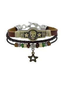Hiphop Rock Style Jewelry Multi Layers Bracelets Pu Leather