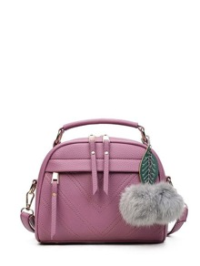 Chevron Shoulder Bag With Pom Pom