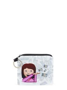 Emoji Print Zipper Pouch