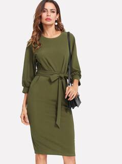 Self Belt Bishop Sleeve Pencil Dress