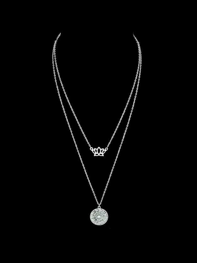 Crown Charm Round Geometric Pattern Pendant Necklace For Women