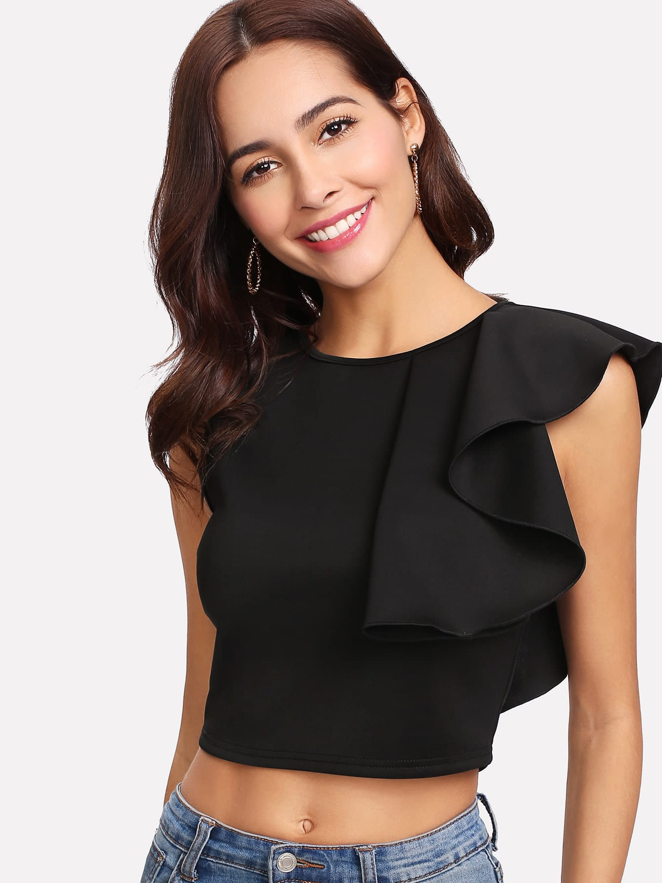 Ruffle Detail Crop Top patchwork ruffle detail top