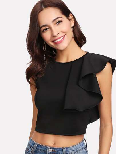 Crop Top mit Raffung Detail