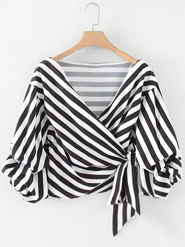 Ruched Sleeve Self Tie Surplice Striped Blouse ruched asymmetric surplice top