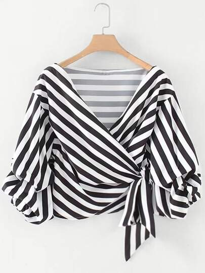 Ruched Sleeve Self Tie Surplice Striped Blouse