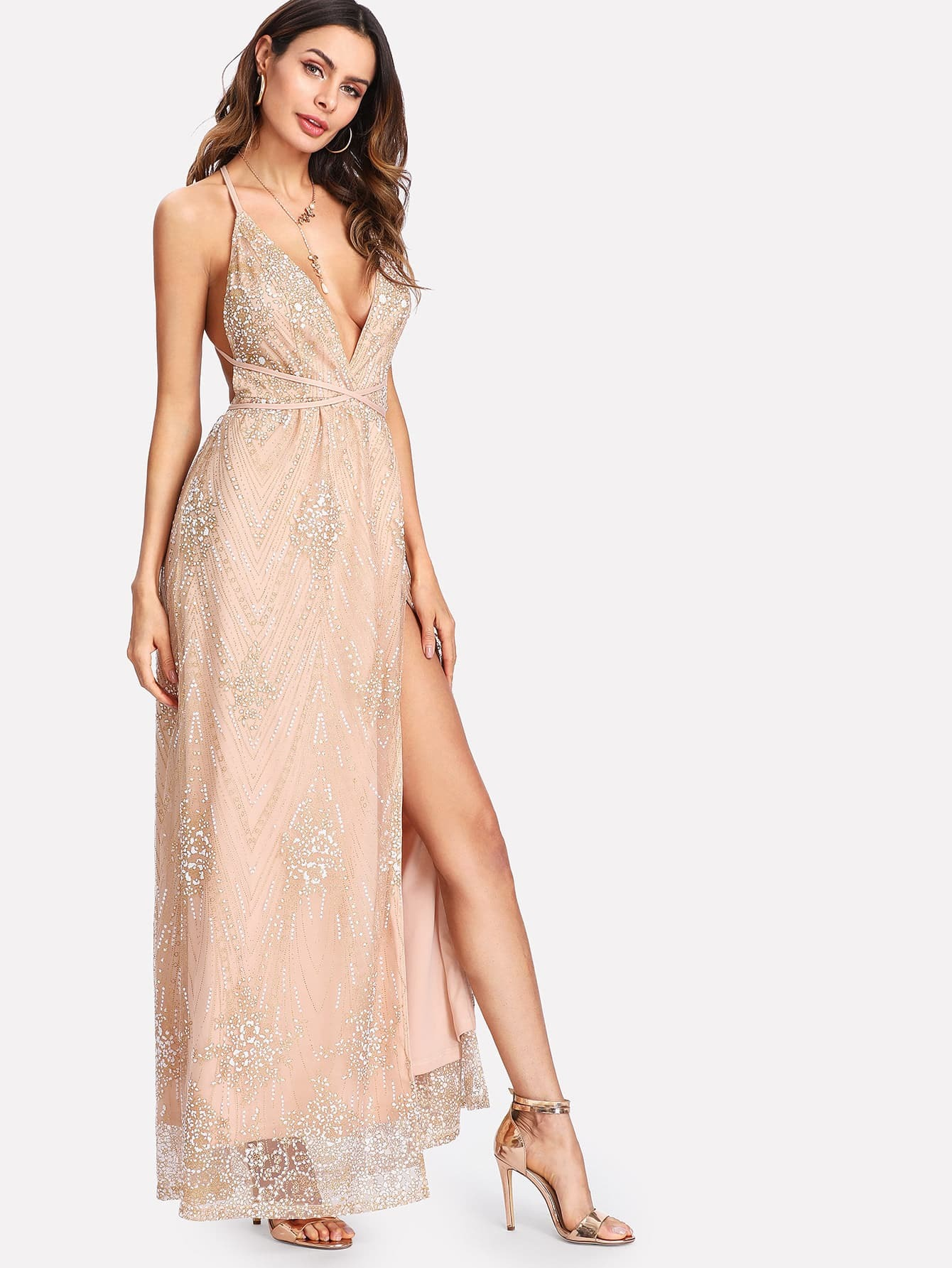 robe fendue croisee au dos en tulle scintillant french romwe With robe croisee