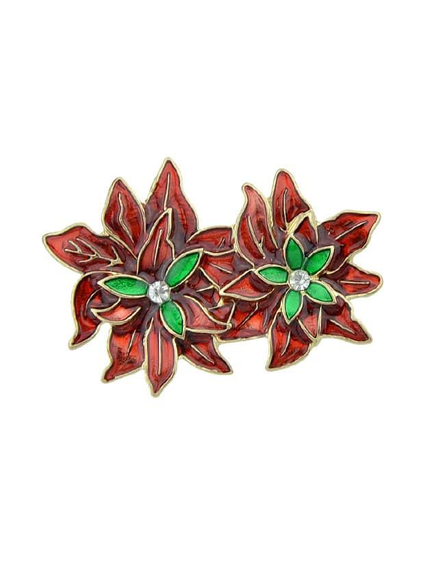 Red Green Enamel Double Flower Pattern Brooches enamel sector pattern brooches with red tassel