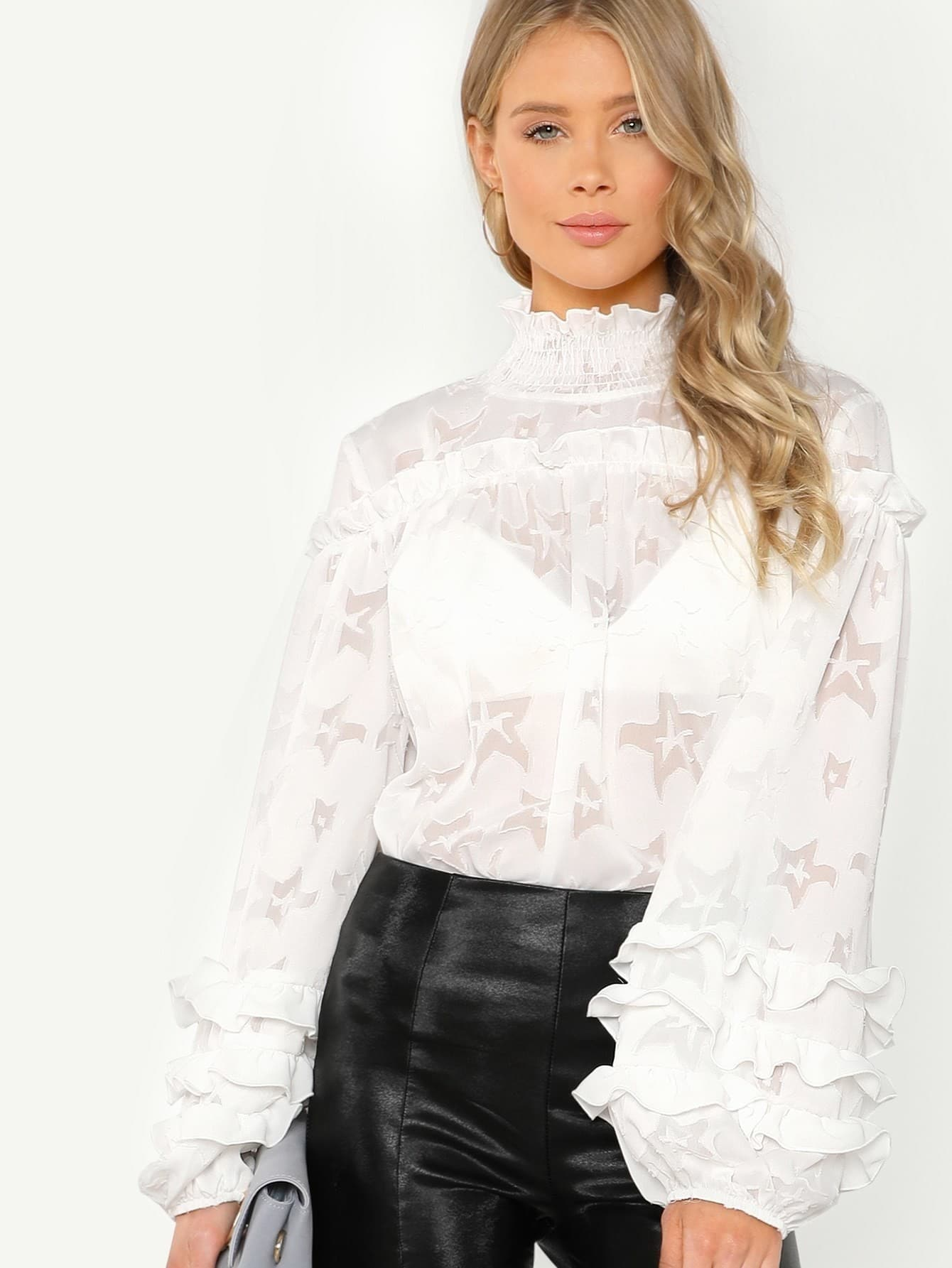 Smocked Neck Layered Frill Sleeve Textured Top pearl beading frill hem textured top