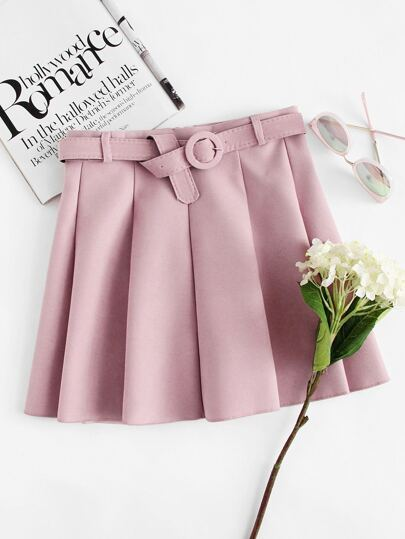 Self Tie Waist Pleated Skirt