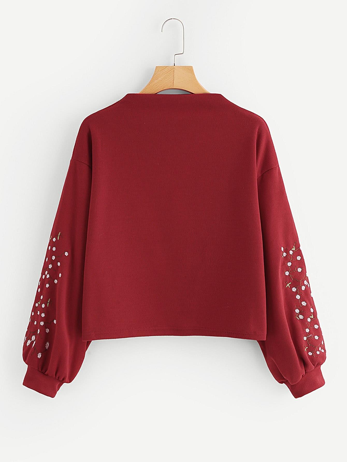 Lantern Sleeve Floral Embroidered Sweatshirt drop shoulder lantern sleeve sweatshirt