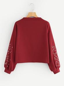 Lantern Sleeve Floral Embroidered Sweatshirt