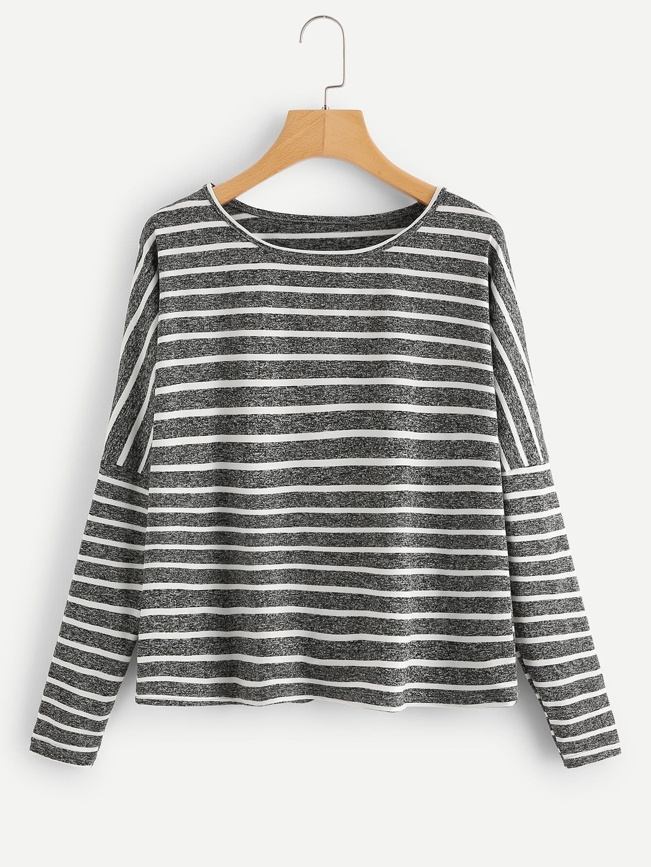 Drop Shoulder Striped Tee drop shoulder two tone sleeve striped tee