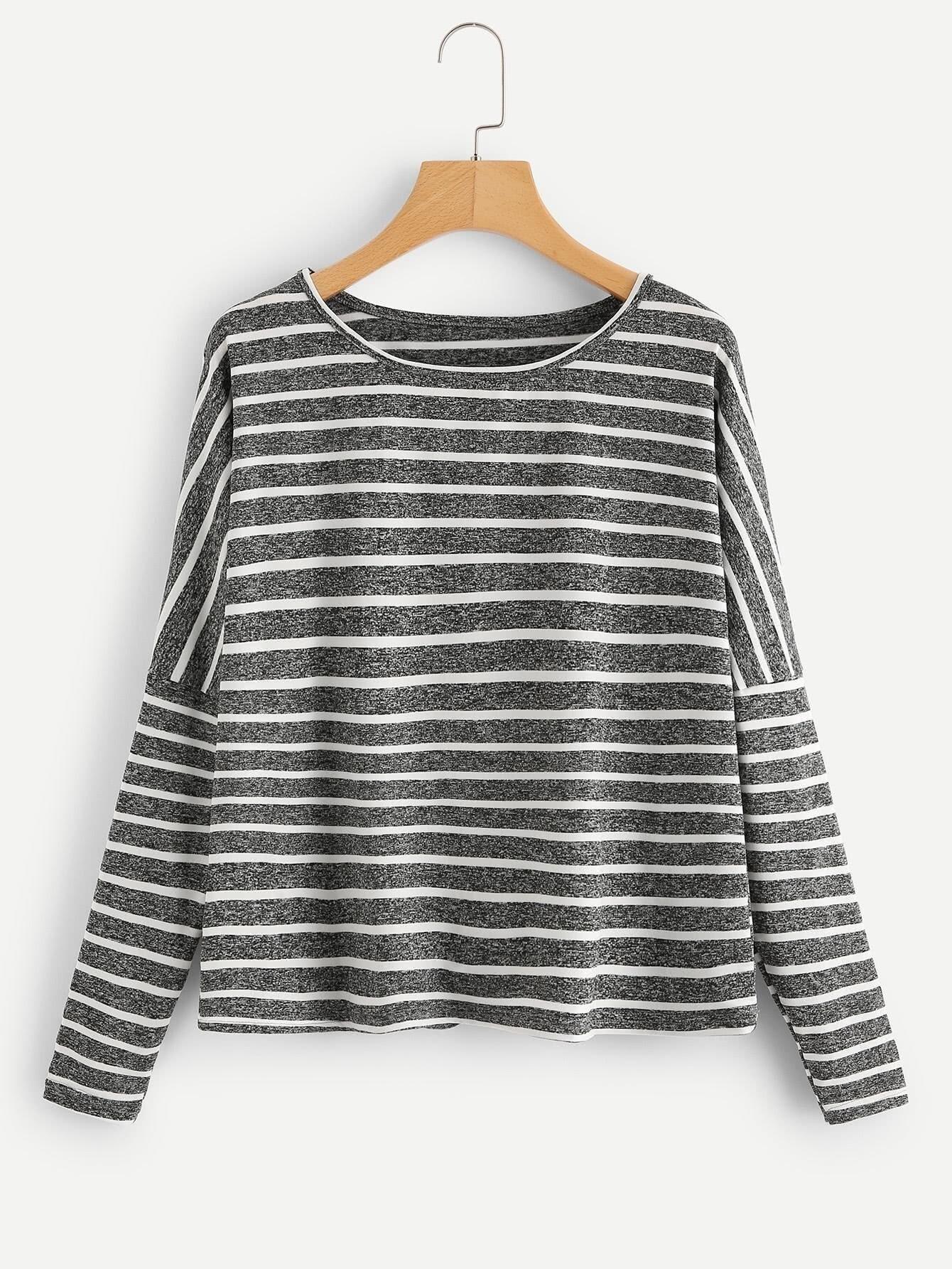 Drop Shoulder Striped Tee two tone drop shoulder sweatshirt
