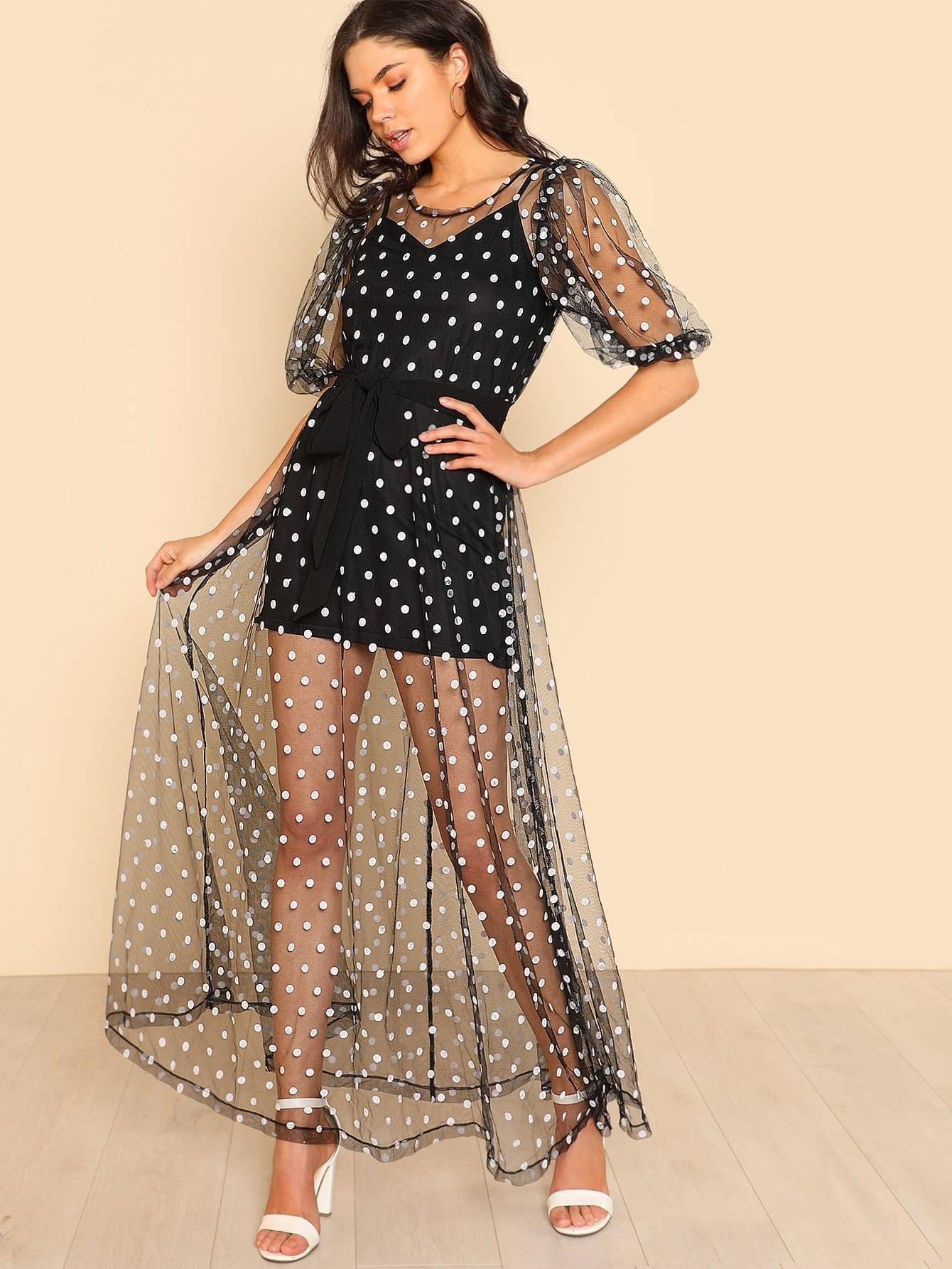 Polka Dot Tie Waist Sheer Mesh Dress Without Cami sheer mesh polka dot pants