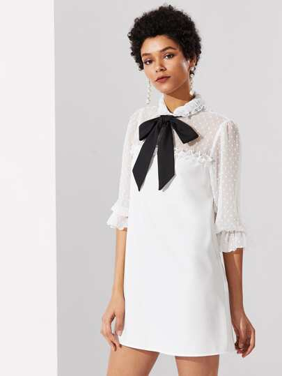 Contrast Tie Neck Dot Jacquard Yoke Frilled Dress