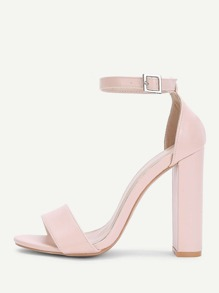 Two Part Block Heeled Ankle Strap Sandals
