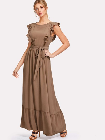 Ruffle Shoulder And Hem Self Belted Dress