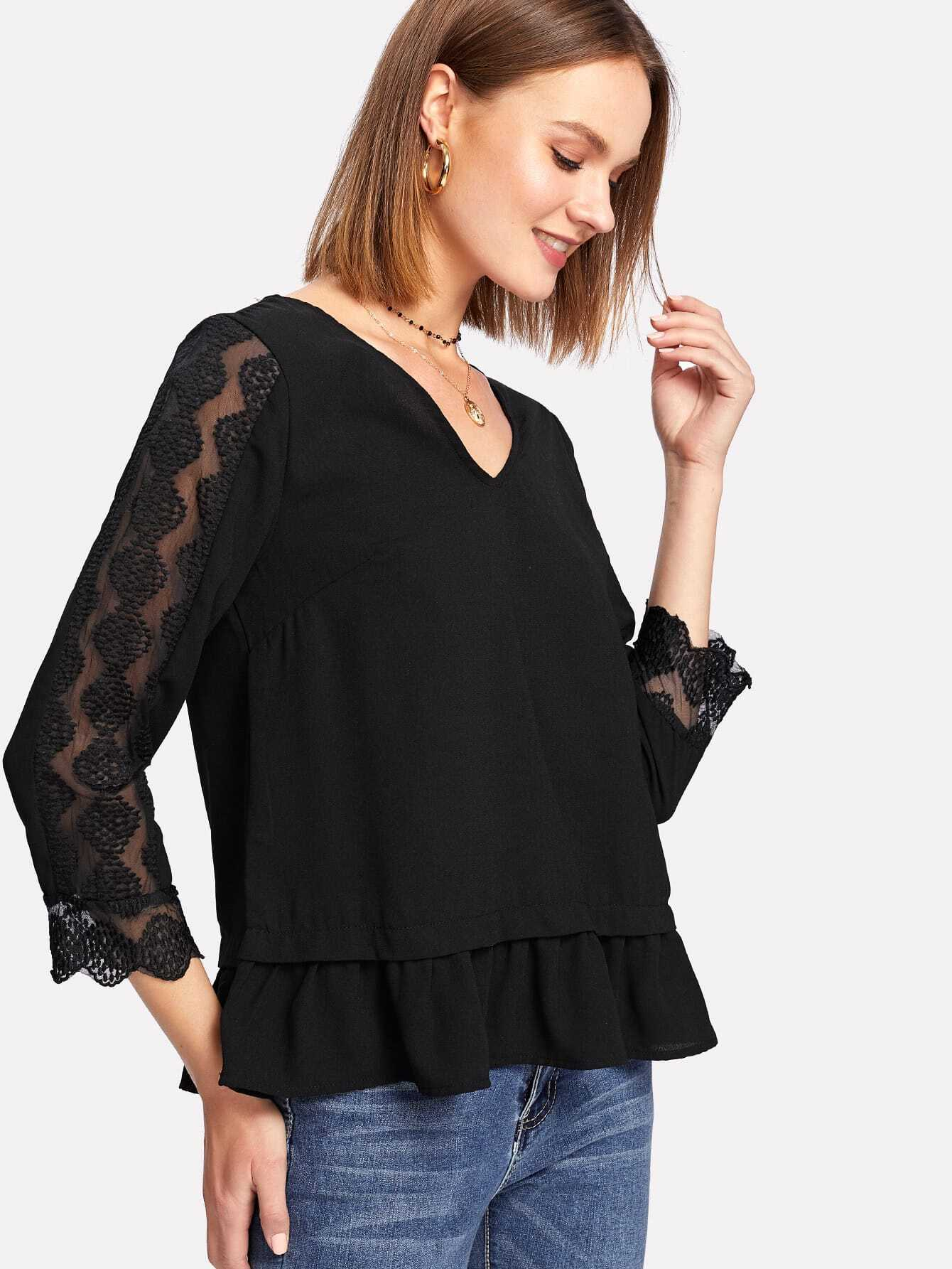 Lace Insert Sleeve Ruffle Hem Top lace insert solid top