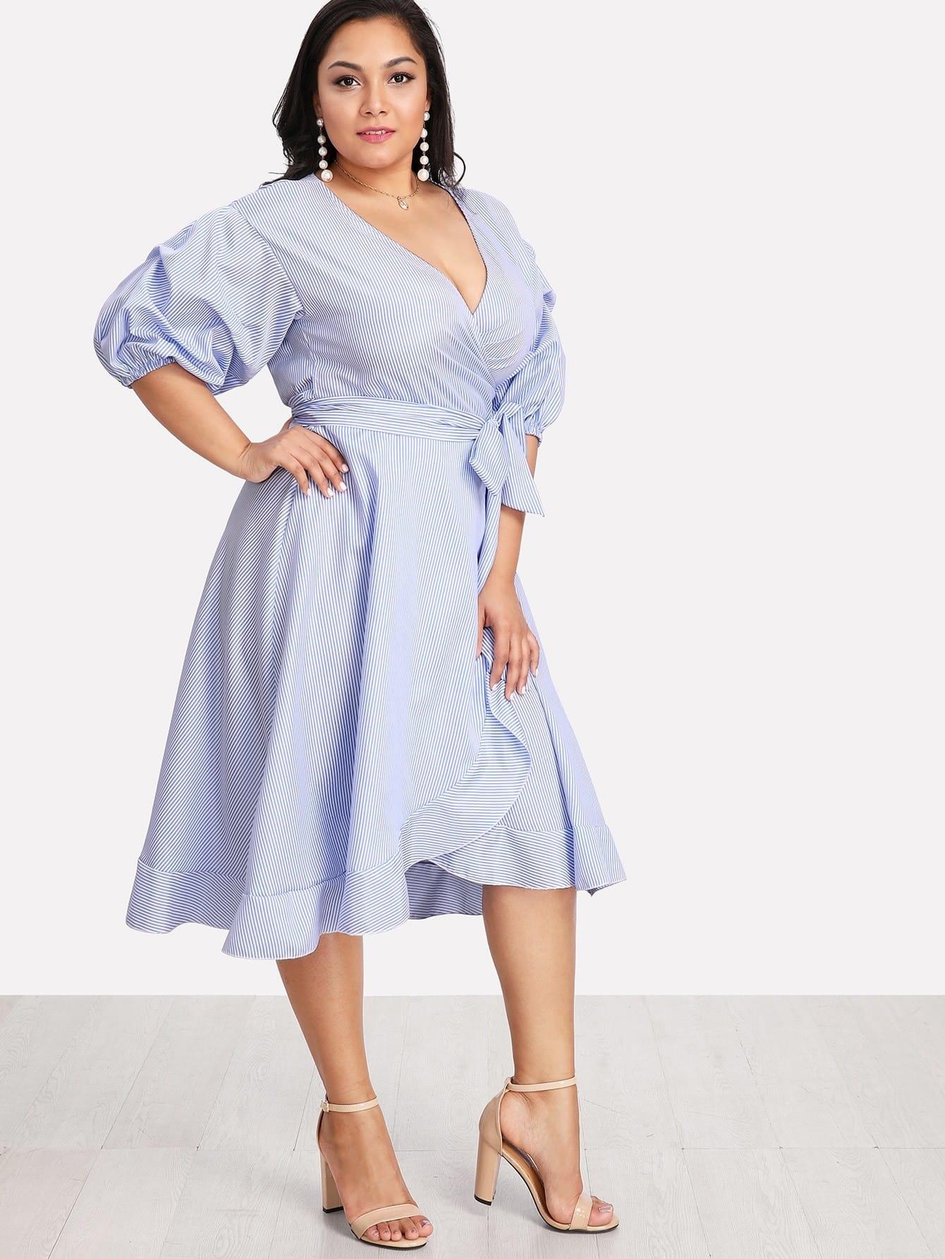 Lantern Sleeve Ruffle Trim Pinstripe Dress lantern sleeve ruffle trim pinstripe dress