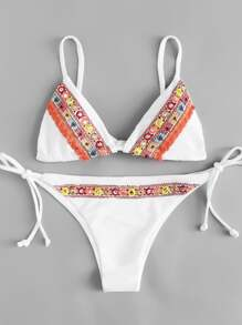 Embroidered Tie Side Bikini Set