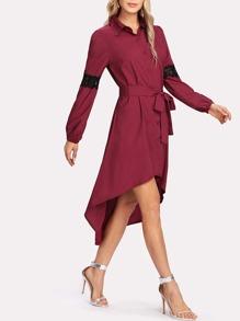 Contrast Lace Dip Hem Shirt Dress