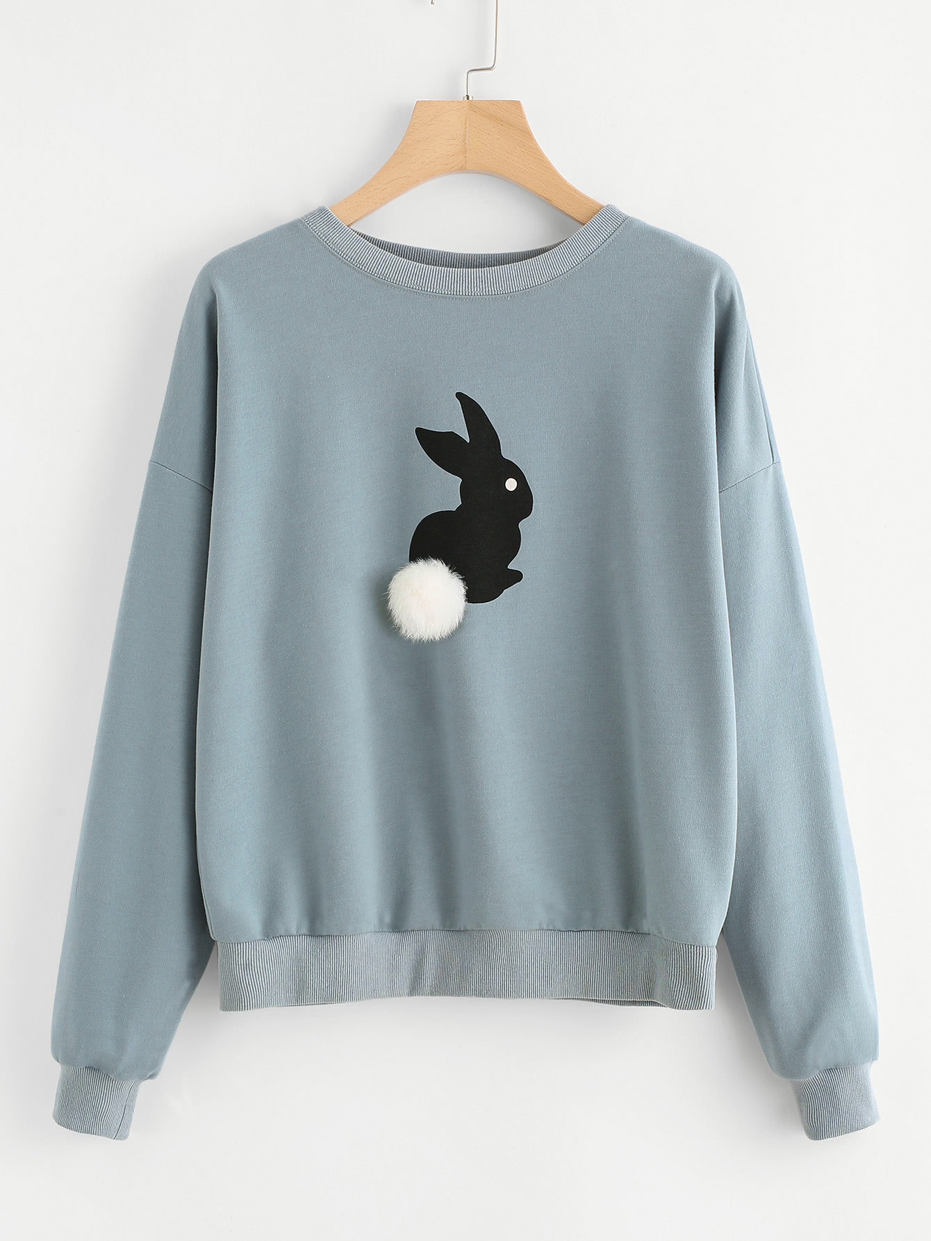 Pom Pom Ball Applique Rabbit Print Pullover pom pom ball applique rabbit print pullover
