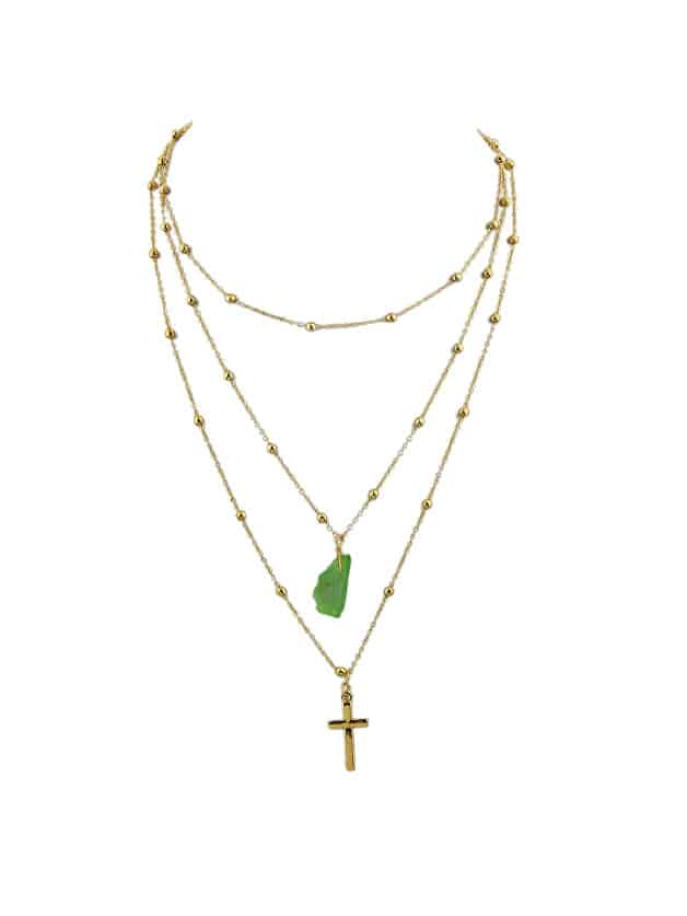 Green Cross Natural Stone Multilayer Necklace Sweater Chain Necklace cat eye multilayer necklace